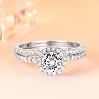 TONGLiN 2 PCS 925 Sterling Silver Rings For Women Princess Circle CZ Ring Set Fine Jewelry Wholesale
