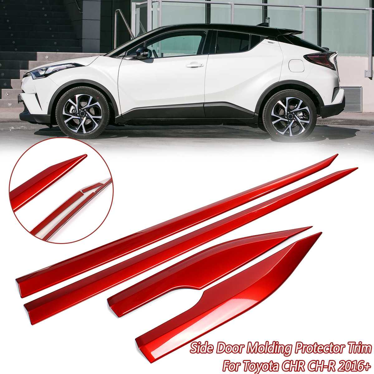 Red Side Door Molding Body Strip Streamer Protection Lid Molding Cover Trim Car Accessories For Toyota CHR CH R 2016 2017 2018+