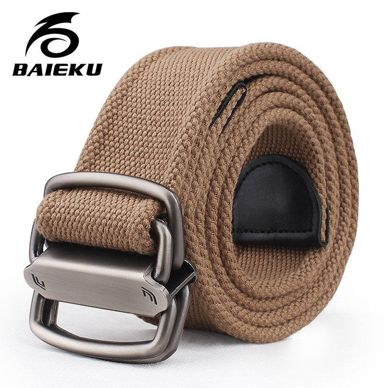 baieku Young men canvas   belt   Personality 2-ring agio   belt   Fashionable wide   belts   designer   belts   men high quality