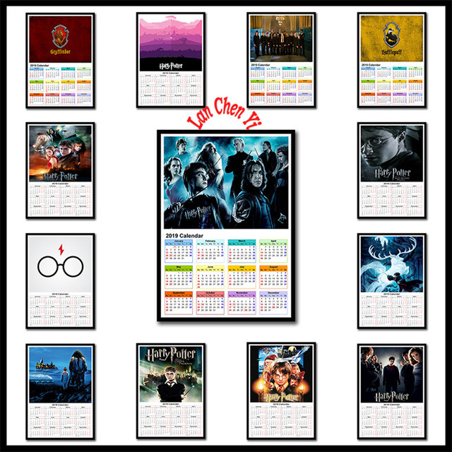 Harry Potter Coated Paper Poster 2019 Calendar Bar Counter Adornment Kitchen Wall Stickers Paper Poster 42x30cm