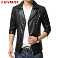 LONMMY Large lapel Leather jacket men coat Men clothes Slim Oblique zipper Motorcycle leather jacket coats spring suede 2016 New