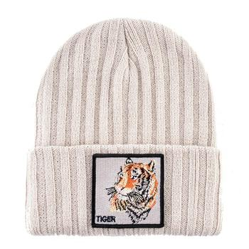 Fashion Skullies Beanies With Fox Embroidery Patch Winter Warm Knitted Hats Women Double Layer Knitting Bonnet Cap Men Solid Hat 2