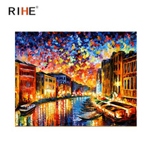 RIHE Night Venice Diy Painting By Numbers Abstract River Oil Painting On Canvas Cuadros Decoracion Acrylic Wall Picture For Room rihe river house diy painting by numbers abstract garden oil painting on canvas cuadros decoracion acrylic wall picture for room