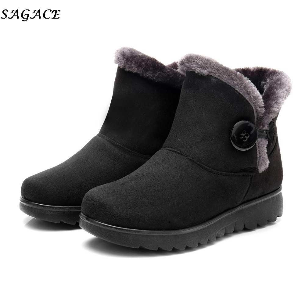 580a9ee89e06 SAGACE 2018 New Waterproof Women Snow Boots Ladies Winter Short Fur Footwear  Warm Martin Shoes Flat
