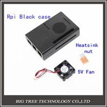 Hot !Raspberry Pi 2 Model B Black Case Cover compatible with RPI B plus + Raspberry Pi Aluminum Heat Sink + 5v 3010 Cooler Fan