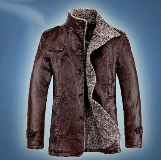Otoño e Invierno engrosamiento cuello de piel y lana abrigo de cuero de  cultiva su moralidad chaqueta de cuero de los hombres eaadb38db276