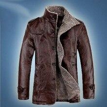 Осенние и зимние мужские меховой воротник утолщение и шерсть кожаная куртка из cultivate One's morality мужская кожаная куртка