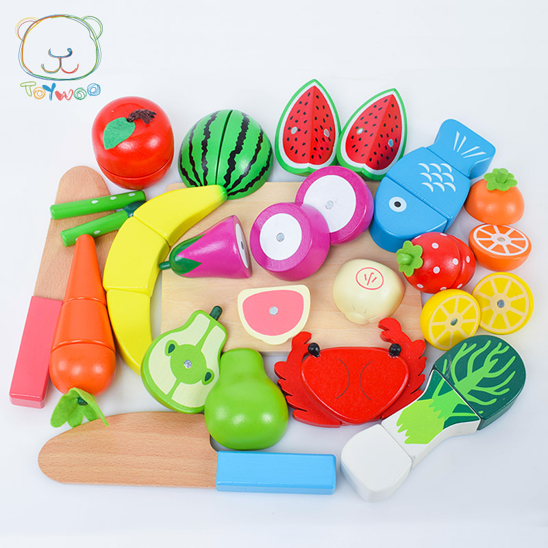 2019 jouet chaud 17 pièces en bois fruits jouets bébé cuisine jouets ensemble enfant semblant