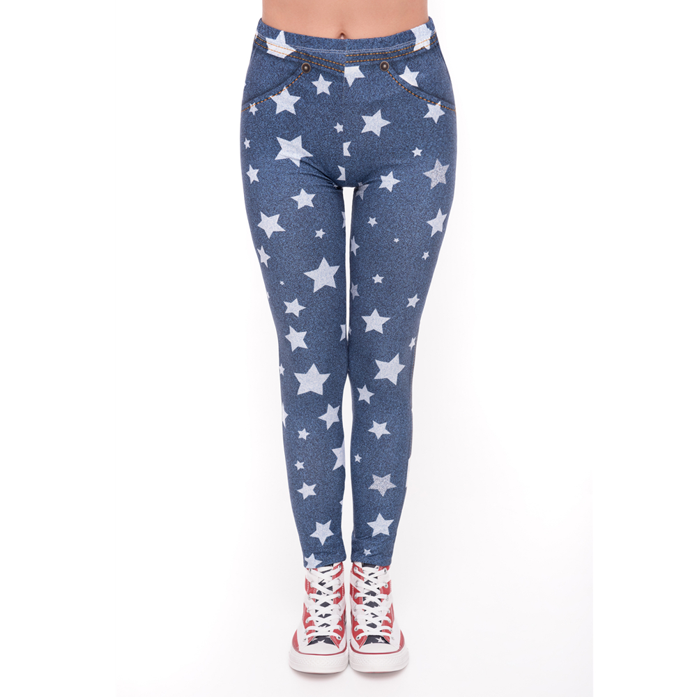 Fashion Leggins Mujer Blue Jeans With Stars Printing Legging Sexy Feminina Leggins Fitness Woman Pants Workout Leggings