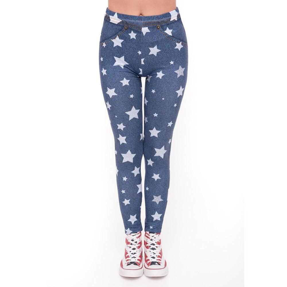 Fashion Leggins Mujer Blue Jeans With Stars Printing Legging Sexy Feminina Leggins Fitness Woman Pants Workout Leggings
