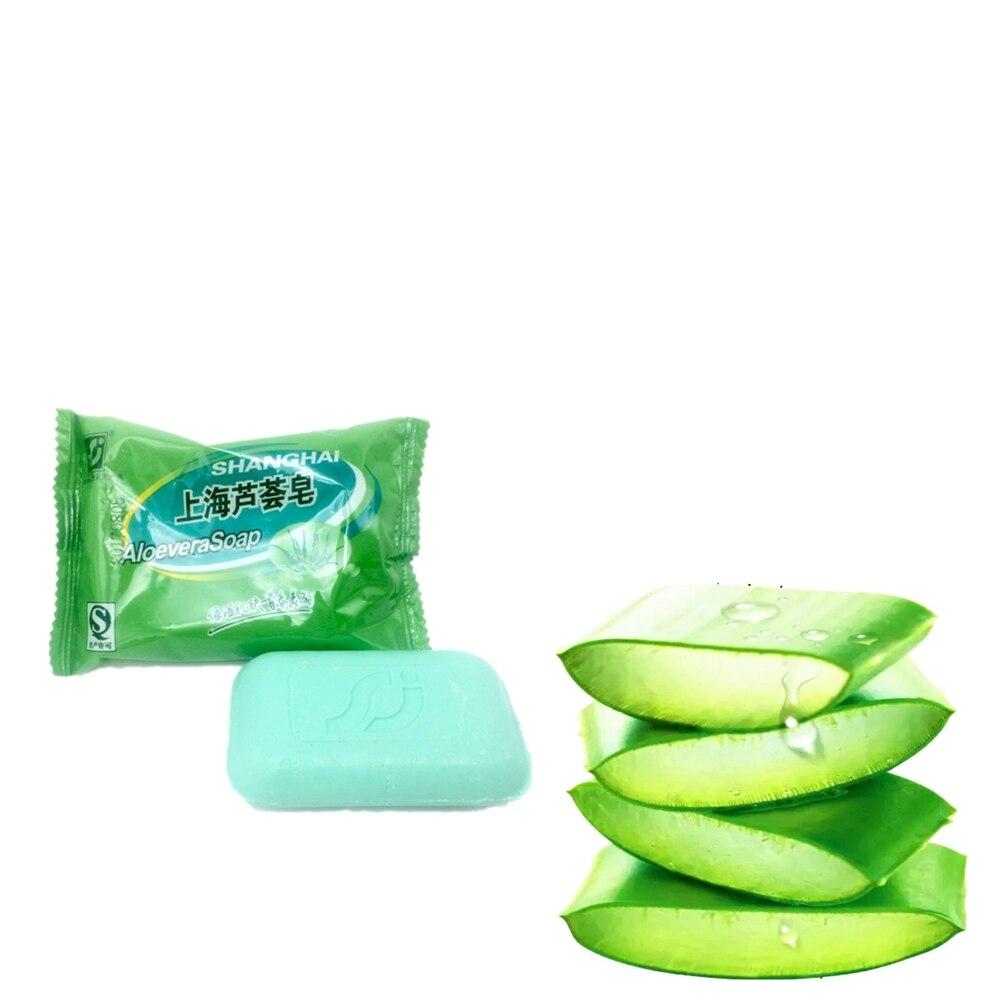 Купить с кэшбэком Natural Aloe Vera Handmade Soap Treatment Skin Care Natural Skin Whitening Soap Blackhead Remover Anti-wrinkle 85g