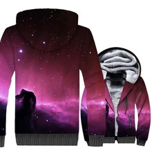 Purple Star Nebula Hoodies Men Winter Thick Sweatshirts Hip Hop Unisex Pink Zipper Tracksuit 2018 Fashion Warm Space Galaxy Coat