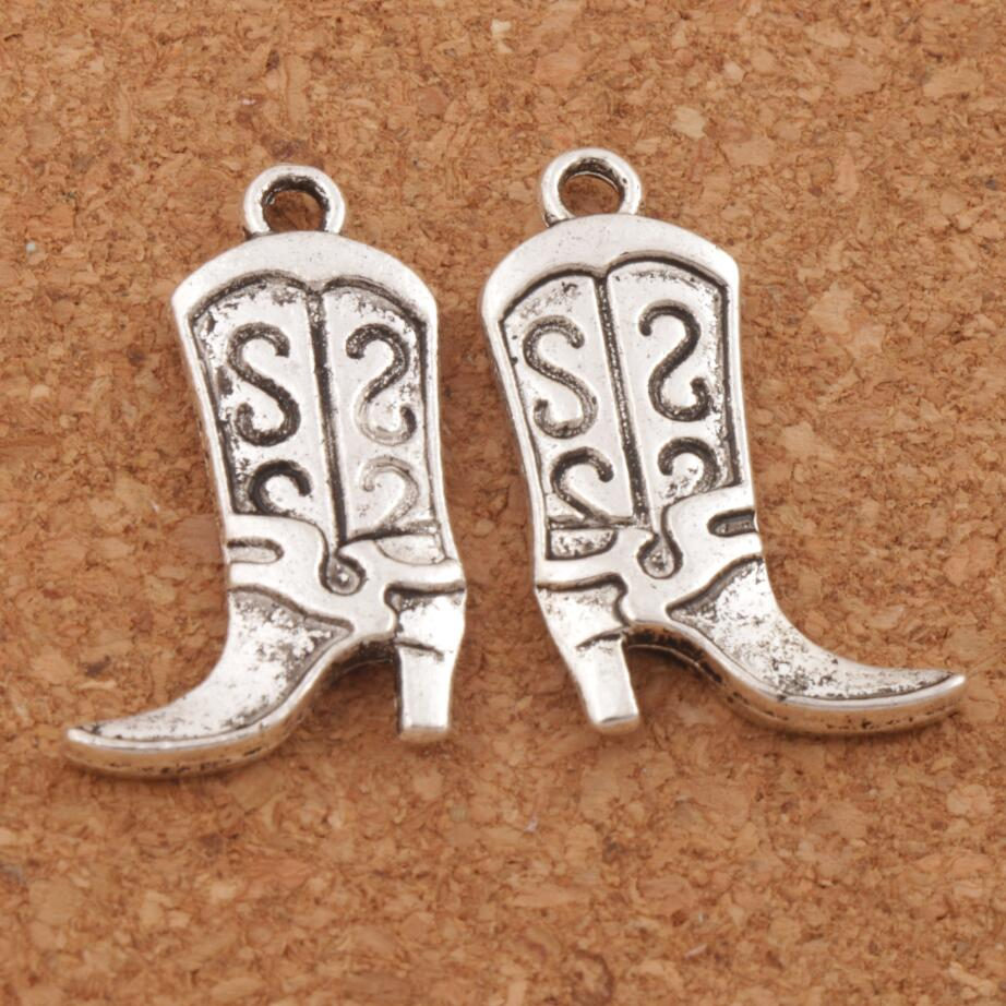 S Design Cowboy Boots High Heel Spacer Charm Beads 100pcs Antique Silver Pendants Alloy Handmade Jewelry DIY 25.1x16mm L250
