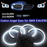 Car styling 1 SET (2X 146mm+2X 131 mm )White Halo Cotton Light car smd LED Angel eyes for BMW E46 non projector auto lighting