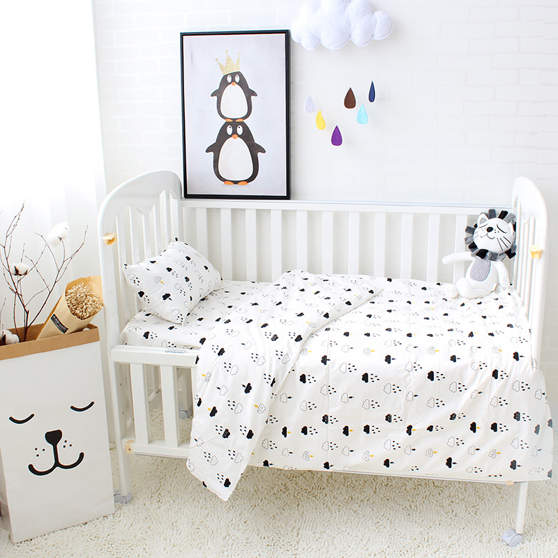3Pcs Baby Bedding Set Cotton Cartoon Pattern Crib Kits Including Flat Sheet Duvet Cover Pillowcase Without Filler Baby Bed Linen stylish green geometric vector pattern square shape flax pillowcase without pillow inner