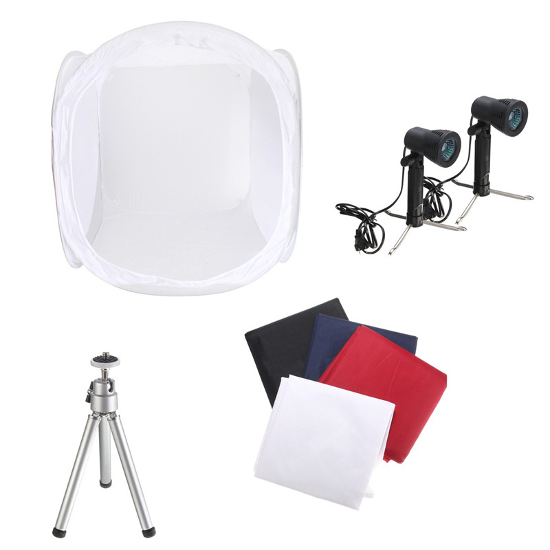 76 X 76 X 76 cm professional Photo Photography Tent Shooting Box Softbox Studio Kit Set with Light/Tripod 4 Backdrops coogens led softbox 60x60cm professional photography light box studier set background cloth equipment
