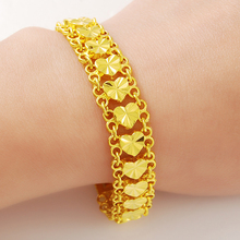 luxury pure gold color bracelets jewelry heart with charm bracelet & bangle for brazilian women fashion
