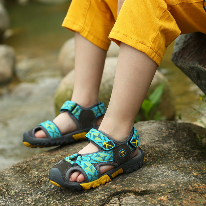 DJSUNNYMIX Summer Boys Beach Sandals For Kids Shoes outdoor coool Toe Breathable Cut-outs comfortable Children Shoes
