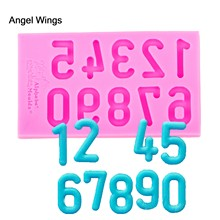 Angel Wings Food grade 3D fondant cake silicone mold Arabic numerals shaped for Reverse forming chocolate decoration tools F1190(China)