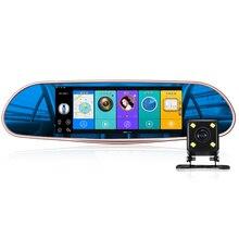 7 дюймов Карро камера HD Android 5.0 Камера 3 г DVR Bluetooth FM WI-FI Интернет Двойной объектив зеркало заднего вида видеокамеры регистраторы DVRs