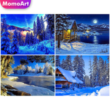 MomoArt DIY Diamond Painting Landscape Embridery Full Square 5d Mosaic Winter Home Decoration