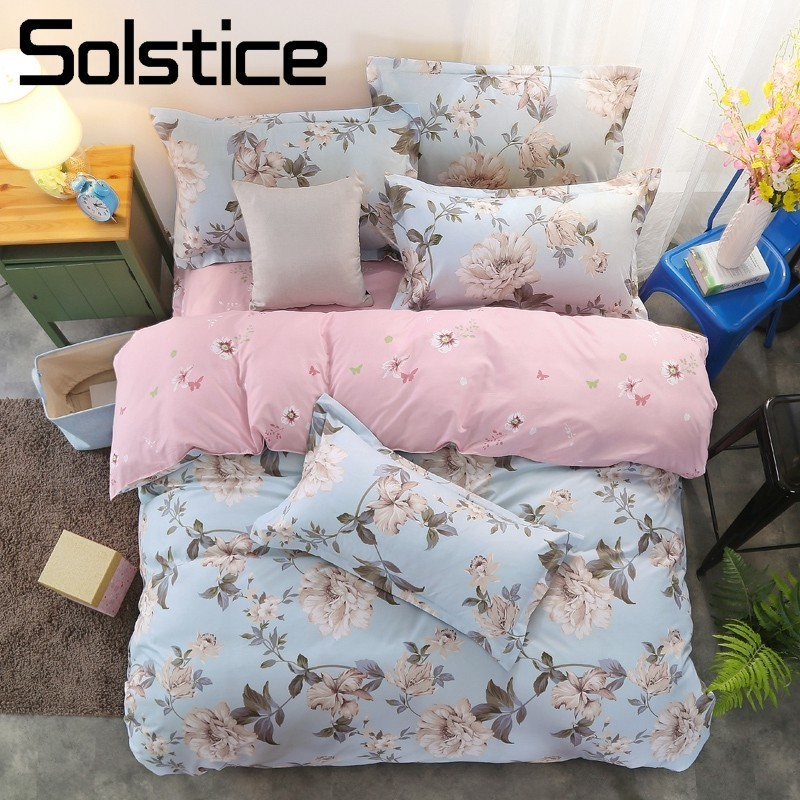 Solstice Home Textile Bed linen Girl Floral Bedding Sets Kid Teens Duvet Quilt Cover Pink Bed Sheet Pillow Cases Slips King Twin