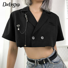 Darlingaga Elegant Chic Cropped Blazer Blouse Women Shirt Fashion Double-Breasted Cardigan Summer Women's Blouses Tops Outerwear(China)