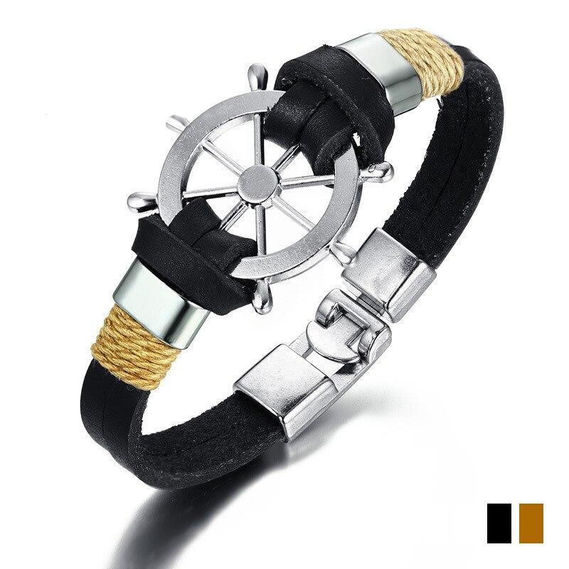 Men Trendy Leather Woven Rope Bracelet Eagle Pattern Hand Accessories Caribbean Rudder Bracelet Male Fashion Zinc Alloy Bangles