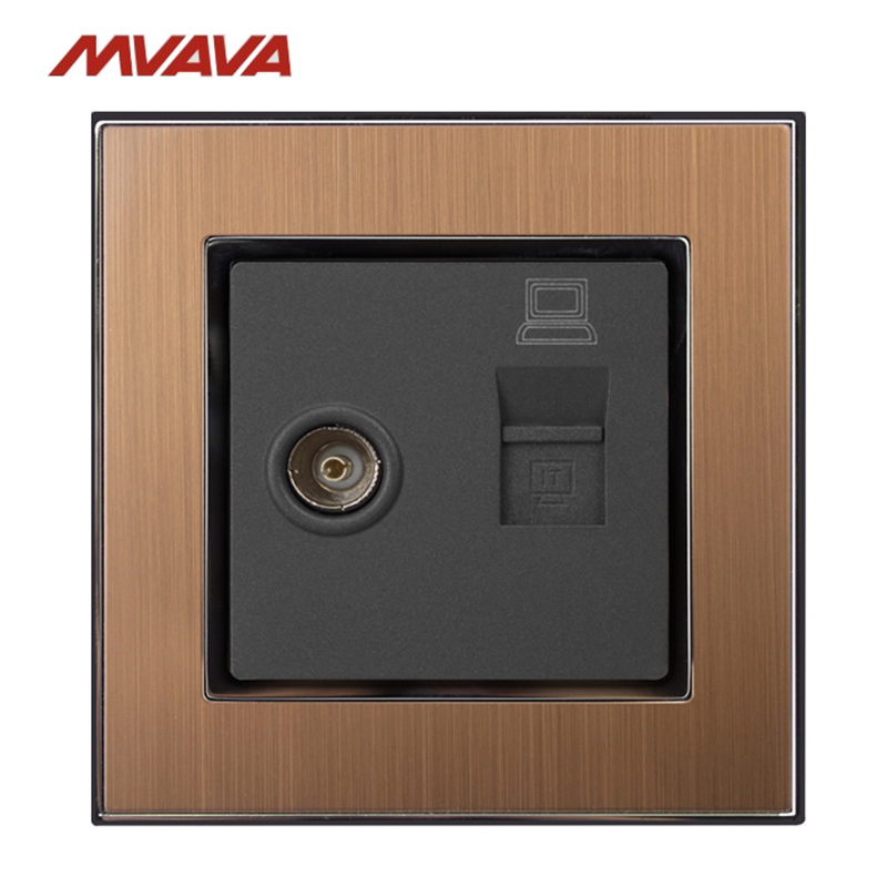 MVAVA Computer Data RJ45 Data+TV Outlet Internet Jack Plug Wall Socket Luxury Gold Satin Metal Cable Receptacle Free Shipping tv data socket wallpad luxury 110 250v brushed metal uk eu standard television and data rj45 lan cable jack wall socket