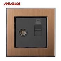 MVAVA Computer Data RJ45 Data TV Outlet Internet Jack Plug Wall Socket Luxury Gold Satin Metal