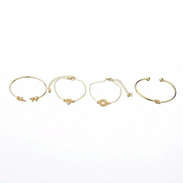 4pcs/Set Fashion Bohemia Leaf Knot Hand Cuff Link Chain Charm Bracelet 5