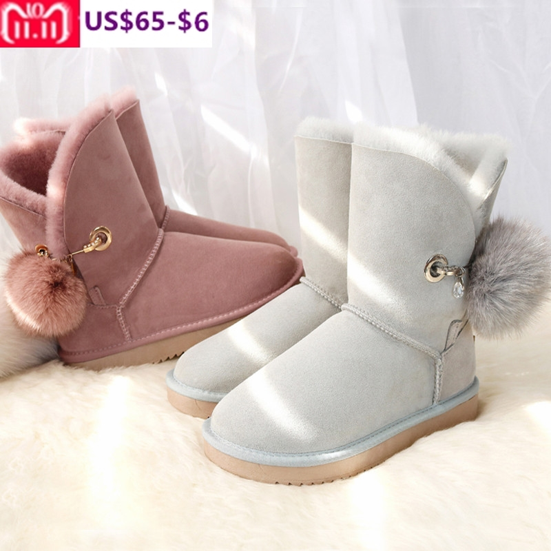 G&Zaco New Winter Sheepskin Boots Wool Fur Snow Boots Mid Calf Sweet Fox Fur Ball Boots Flat Sheep Fur Wool Warm Women's Shoes gretel wool boots