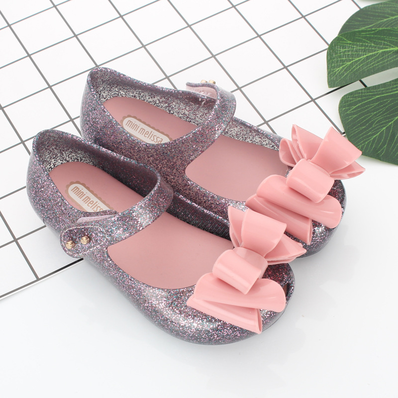 Mini Melissa 2018 New Summer Kids Girls Jelly Shoes Bow Flats Infants Melissa Sandals Jelly Shoes Baby Girls Mini Melissa Shoes