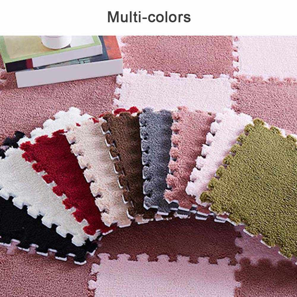 Waterproof Plush Floor Mats for Kid Play Mat Interlocking Exercise Crawl Tiles Soft Clean Bedroom Floor Puzzle Carpet Home Decor