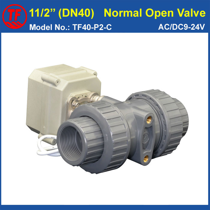 TF40-P2-C, AC/DC9-24V 2 Wires 11/2'' UPVC 2 Way DN40 Electric Normal Open Valve BSP or NPT Thread 10NM On/Off 15 Sec Metal Gear pvc 11 2 normal open valve tf40 p2 c ac110v 230v 2 wires 2 way dn40 bsp or npt thread 10nm on off 15 sec metal gear ce ip67