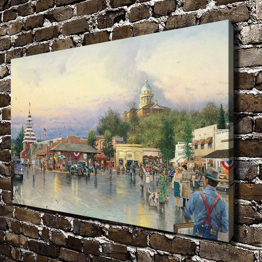 H1053 Thomas Kinkade Main Street Courthouse HD Canvas Print Home Decoration Living Room Bedroom Wall Pictures Art Painting