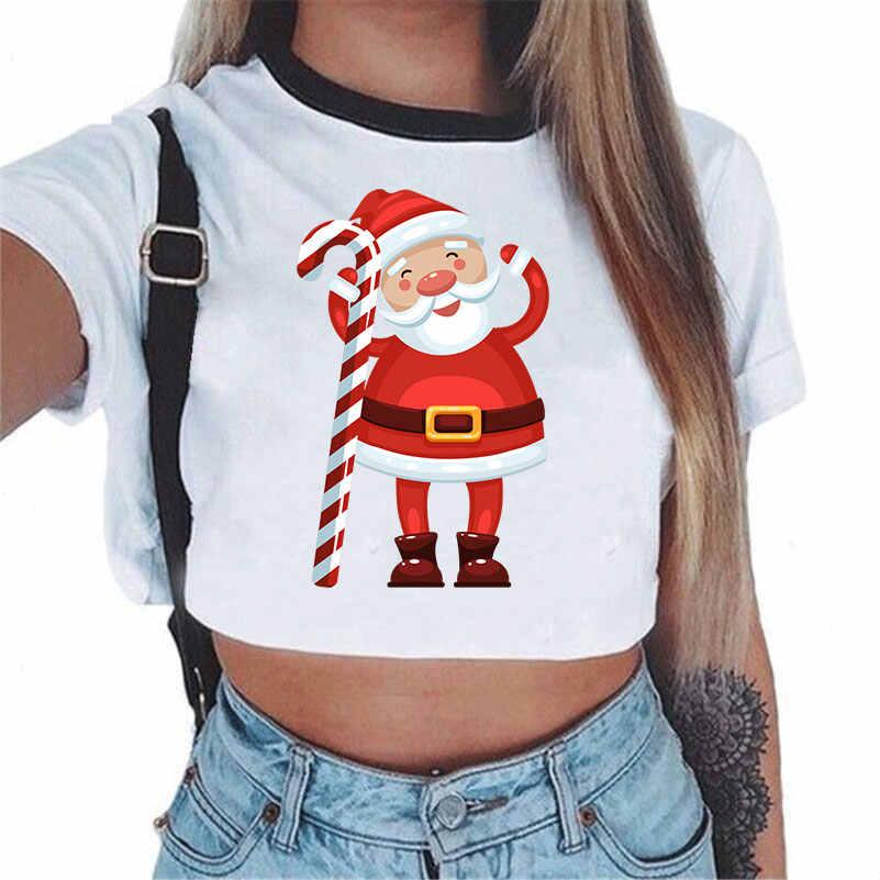 Boże narodzenie bluzka koszule 2018 kobiet z krótkim rękawem Sexy biały Kawaii Crop Top Tumblr Femme ubrania moda odzież koszulki