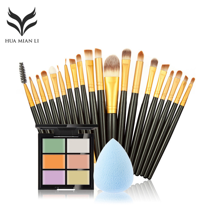 HuaMianLi Brand Makeup Brush set Great 6 Color Concealer + 20 Makeup Brush + 1 Water Puff Cosmetic Powder Puff Beauty tools kit