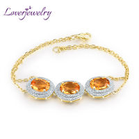Lovely New Citrine Bracelet 14K Yellow Gold Natural Diamond Jewelry Good Quality Gemstone for Girl Party Gift WP025