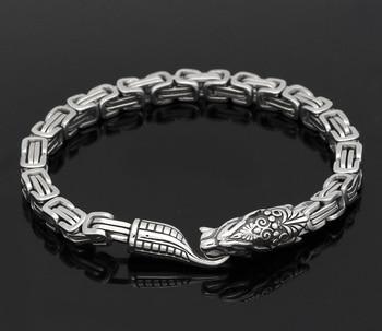 Stainless Steel Nordic Viking Odin Wolf King Chain Amulet Men Bracelet  Viking Bracelet