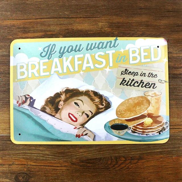 Acheter vintage m tal peinture femme au foyer cuisine petit d - Plaque deco cuisine retro ...