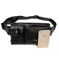 Men Genuine Leather Cowhide Fanny Waist Pack Crossbody Bag Travel Purse Cigarette Case Cell Phone Pocket