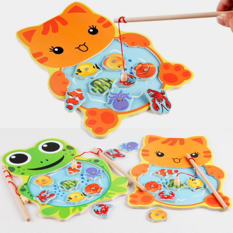 1 PCS Baby 3D Fishing Game Wooden Toys Magnetic Puzzle Kids Fishing Game Manual Brain Puzzle Childrens Toys