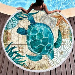 Sea Turtle Printed Microfiber Beach Towel for Adult Kids Yoga Mat Tassels Blanket Large Round Towel Swimwear Tapestry Home Decor