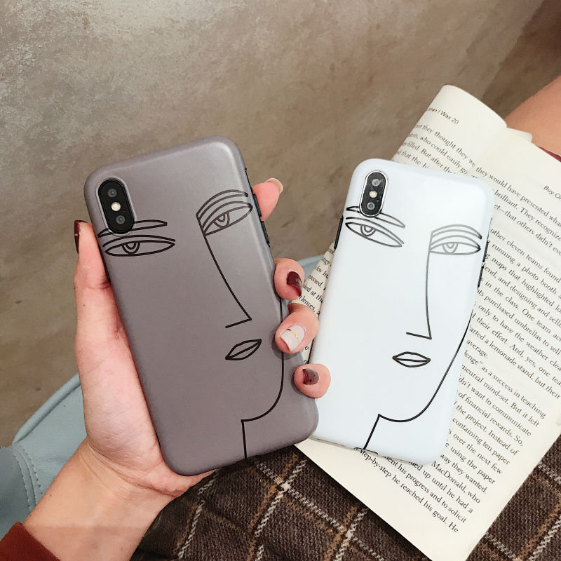 Cyato Cute Line drawing face Cases for iphone 7 Case Soft TPU case cover For 6 6s 8 plus X XR XS Max silicon capa coque