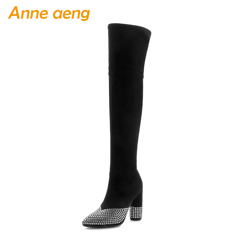 New Winter Women Over-The-Knee Boots High Heels Crystal Pointed Toe Sexy Ladies Women Shoes Black Snow Thigh High Boots Big Size meotina women boots high heels thigh high boots winter sexy over knee boots ladies autumn shoes black white shoes big size 10 43