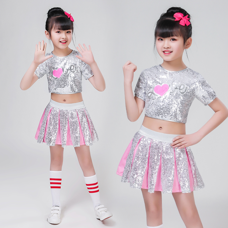 3pc Children Girl Hip Hop Jazz Costume Modern Ballroom Dance Wear Clothing Kids Sequined Sports Clothes For Girls White Jazz