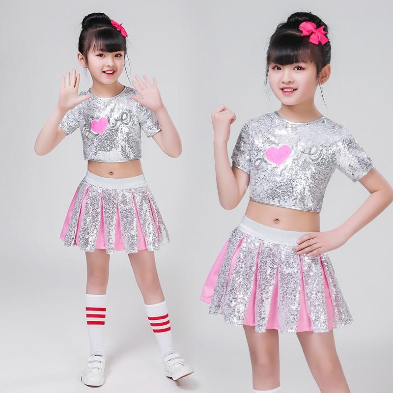 3pc Children Girl Hip Hop Jazz Costume Modern Ballroom Dance Wear Clothing Kids Sequined Sports Clothes For Girls White Jazz