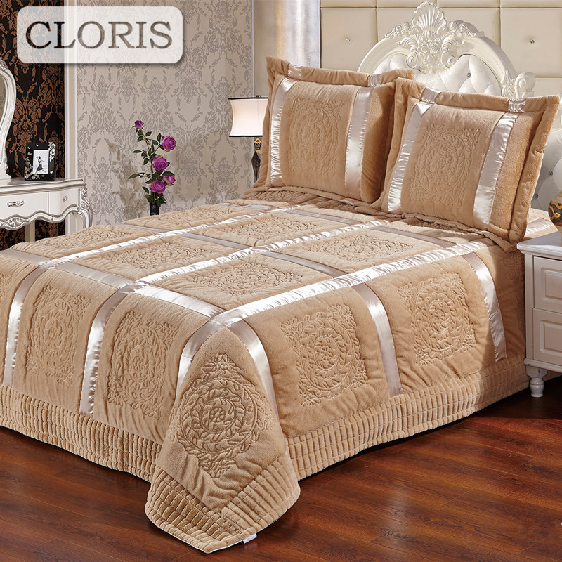 CLORIS 2018 High Quality Blanket Plaid <font><b>Quilted</b></font> Patchwork Bedspread King Size Bed SheetS Qualt Coverlet On The Bed Veil With Down