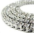 Hip Hop Bling Iced out 20-30 inch 1 Row Austrian Rhinestone 6mm Gold Chain Necklace Men Women Punk Rock Jewelry